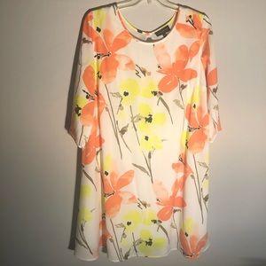 Lane Bryant Watercolor Floral 3/4 Sleeves Dress